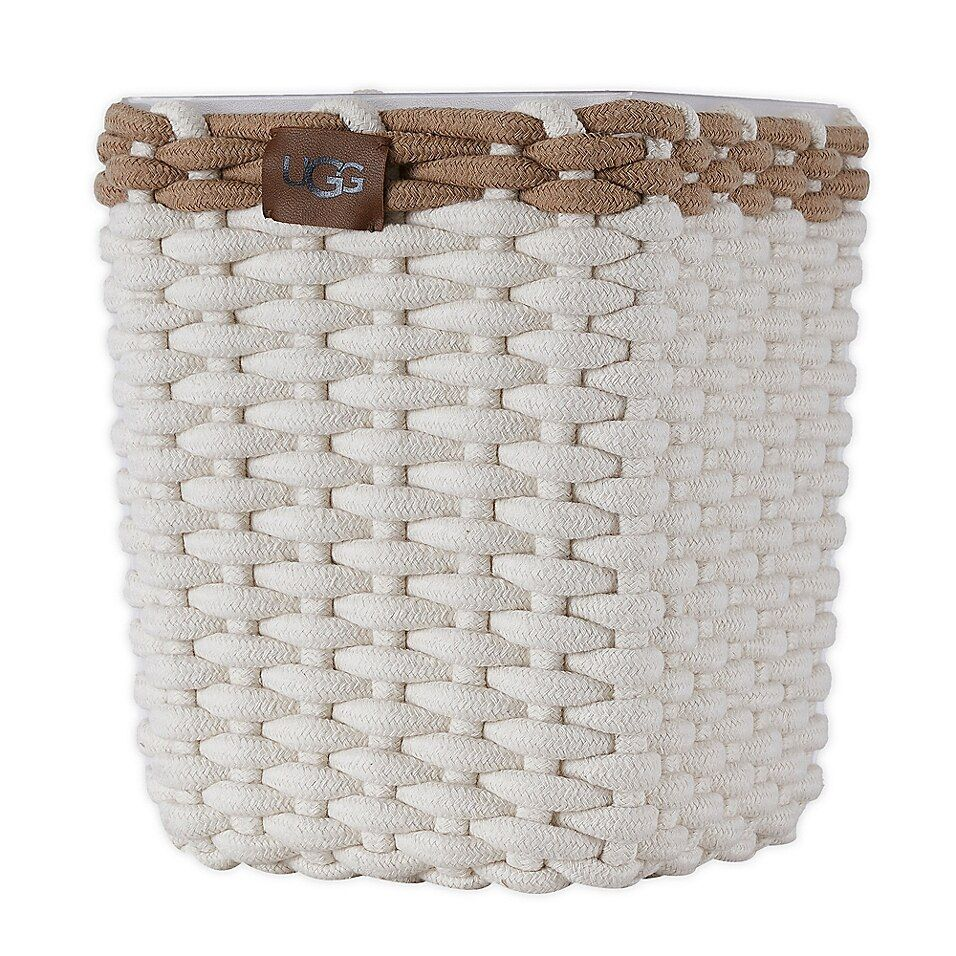 UGG Coco Beach Square Cotton Rope Wastebasket In Snow - Enjoy the fresh modern styling of this UGG Coco Beach Square Waste Basket in any room of your home or office. It coordinates with other Coco Beach Cotton Rope accessories from UGG and includes a removable hard plastic insert.
