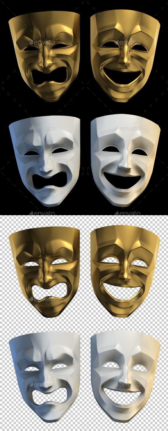 Tragicomic Theater Masks - Objects 3D Renders | Theatre ...