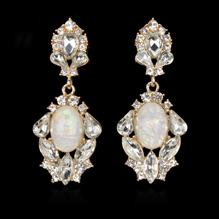 Retro Fasion Elegant Imitation Diamond Earrings Wedding Long Crystal Boucle Doreille Orni Donna