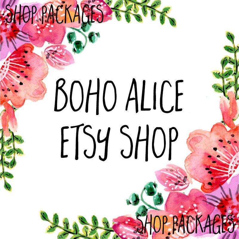 Bohemian etsy banner set etsy shop set etsy package