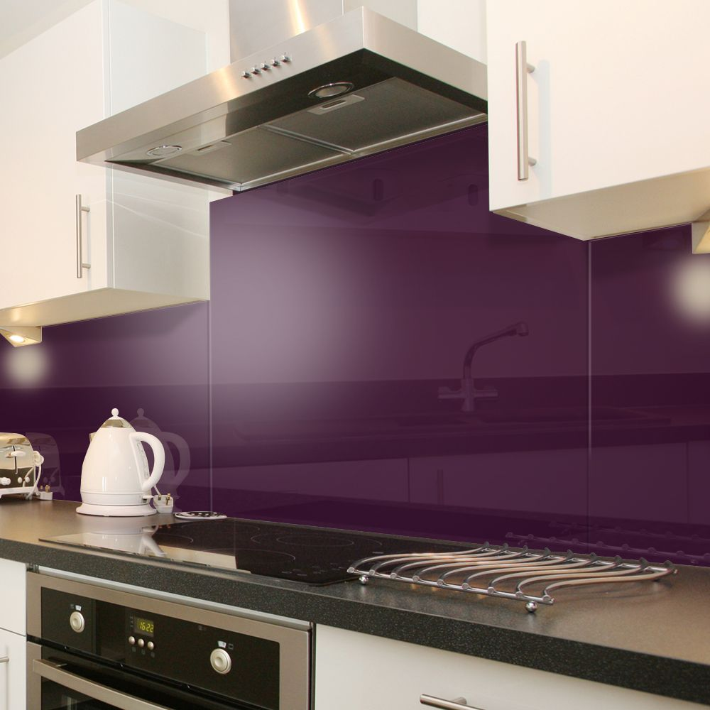 deep purple (aubergine) acrylic sheet backsplash. love this color