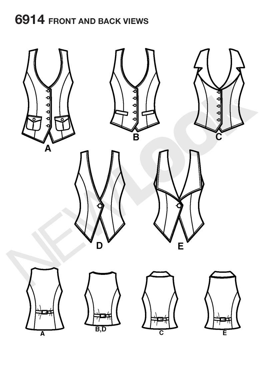 Waistcoat Pattern : waistcoat, pattern, NL6914, Misses, Sewing, Pattern,, Waistcoat, Woman,, Clothes