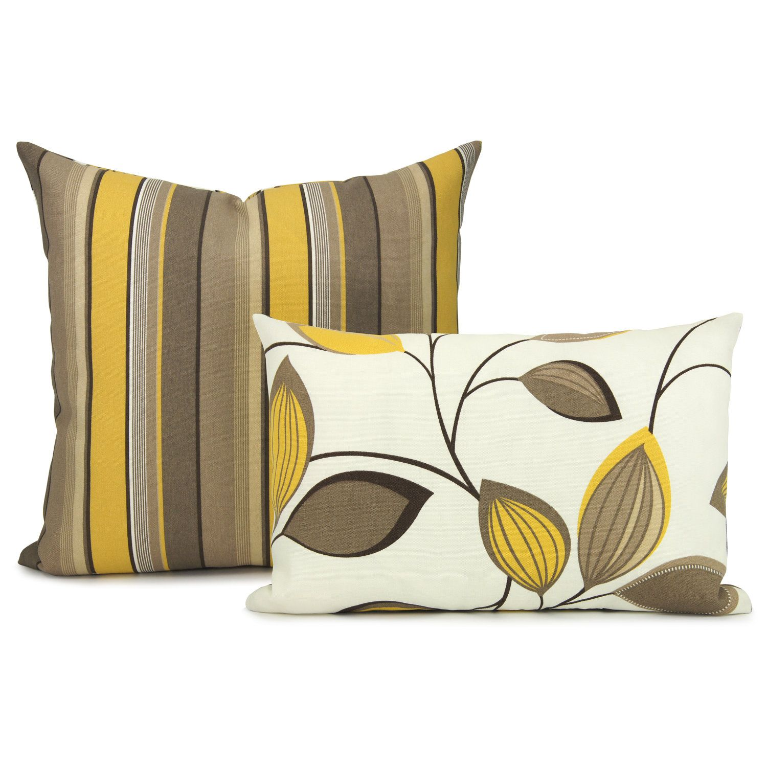 Yellow Brown Throw Pillows : Outdoor pillow cover - Mustard yellow, brown and cream vine and stripe print reversible outdoor ...