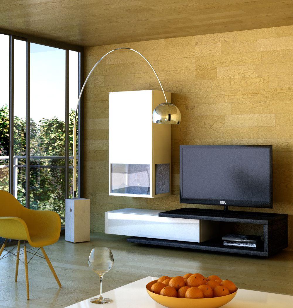 Mueble De Tv Con Vitrina Poco Espacio Bien Utilizado Que Os  # Muebles Poco Espacio