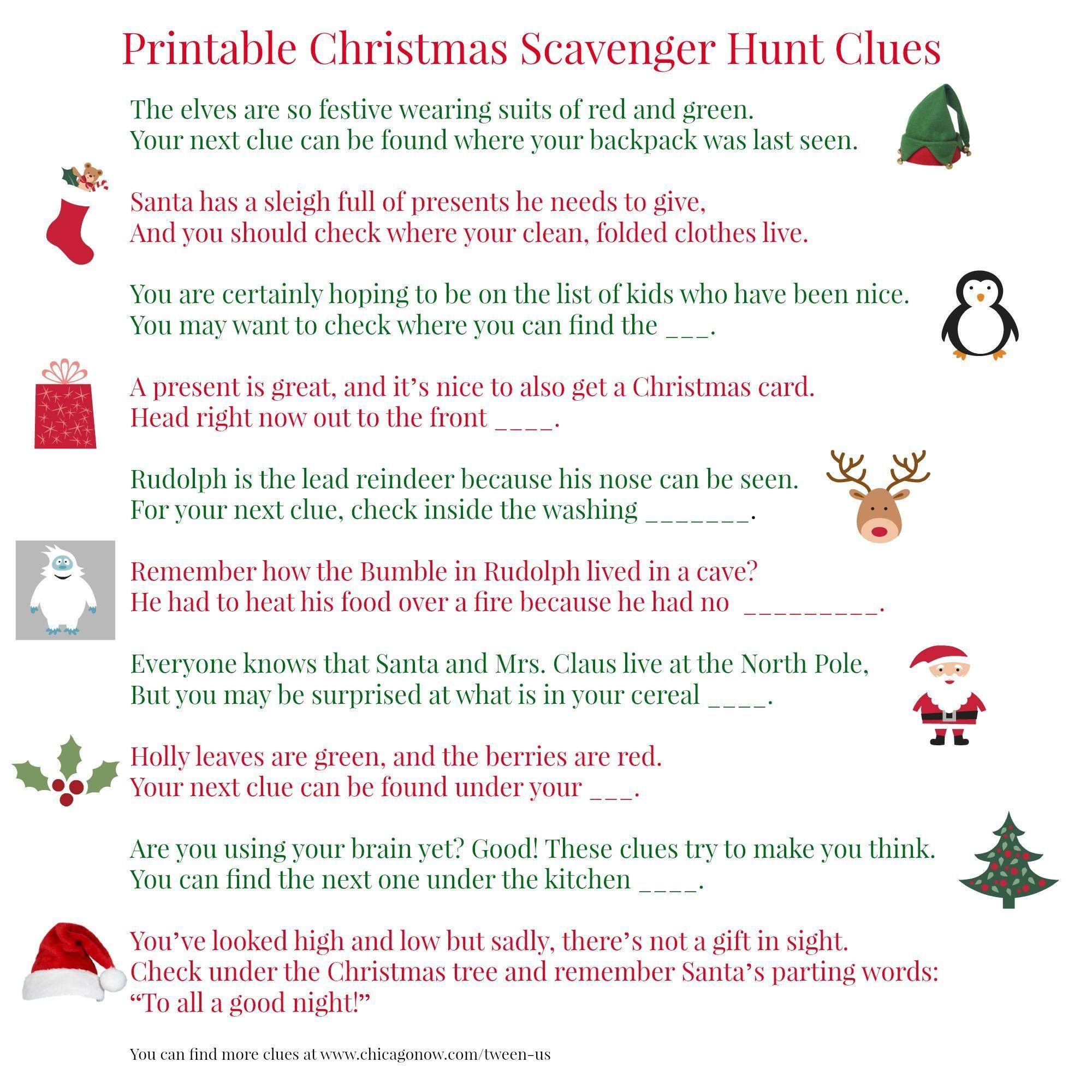 Christmas Scavenger Hunt Clues | Halloween Scavenger Hunt For Kids ...