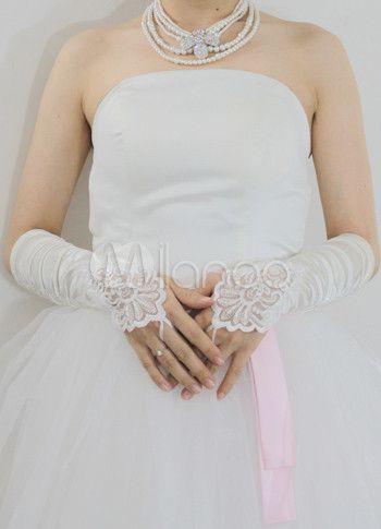 1c18047350d67 ブライダルグローブ アイボリー サテン 花嫁用 フィンガーレス 肘丈 ウエディング - Milanoo.jp