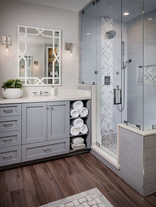 Transitional Master Corner Shower Photo In San Diego With Gray Cabinets A Freestanding Tub Bathroom Remodel Master Farmhouse Master Bathroom Bathrooms Remodel