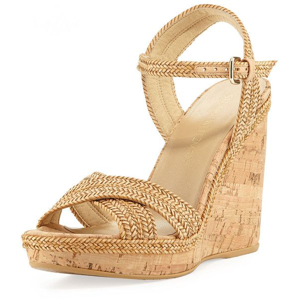 6551b092b7c Stuart Weitzman Pixie Woven Cork Wedge Sandal ( 230) ❤ liked on Polyvore  featuring shoes