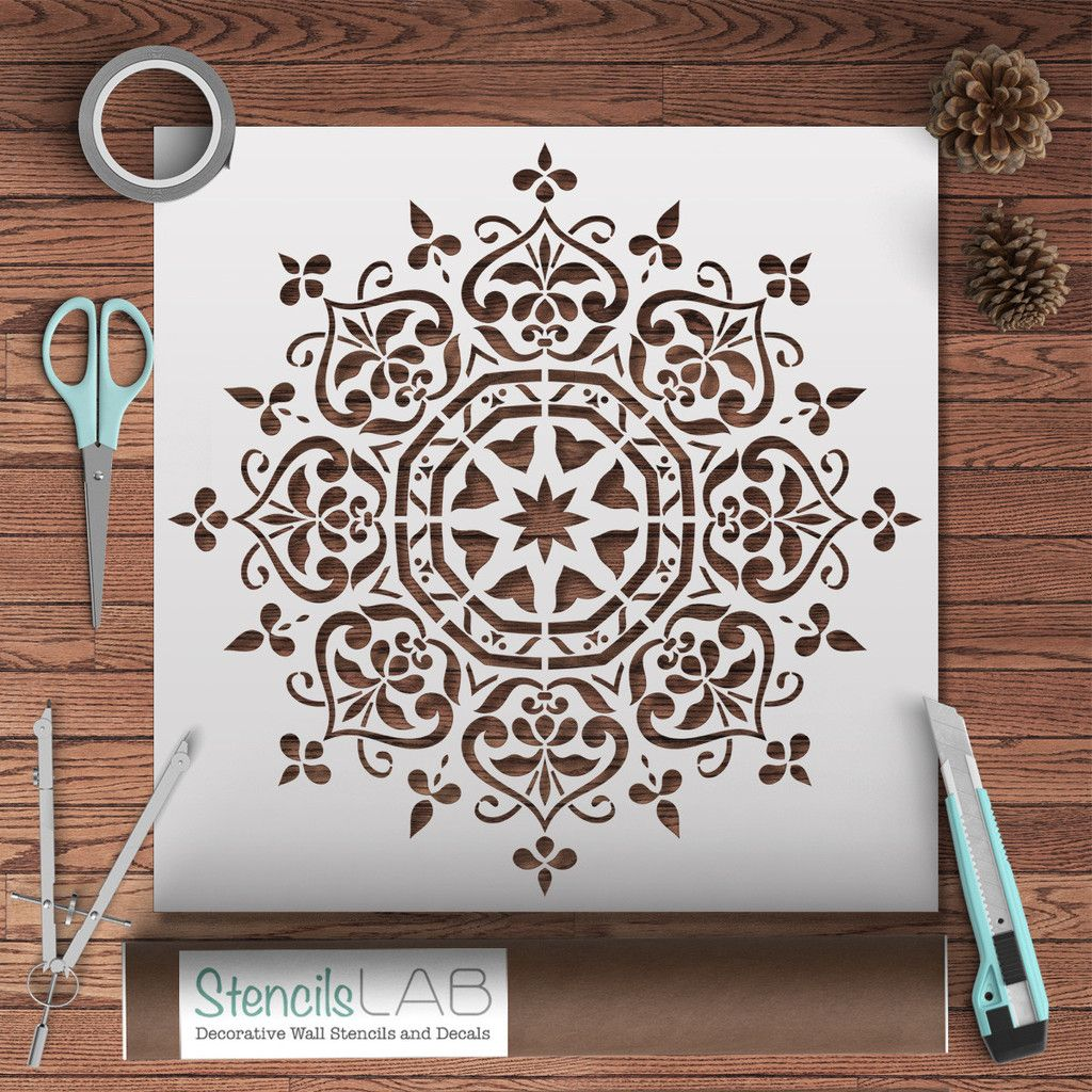 Mandala style stencil floral motive wall stencil original and mandala style stencil floral motive wall stencil original and unique wall stencil amipublicfo Images