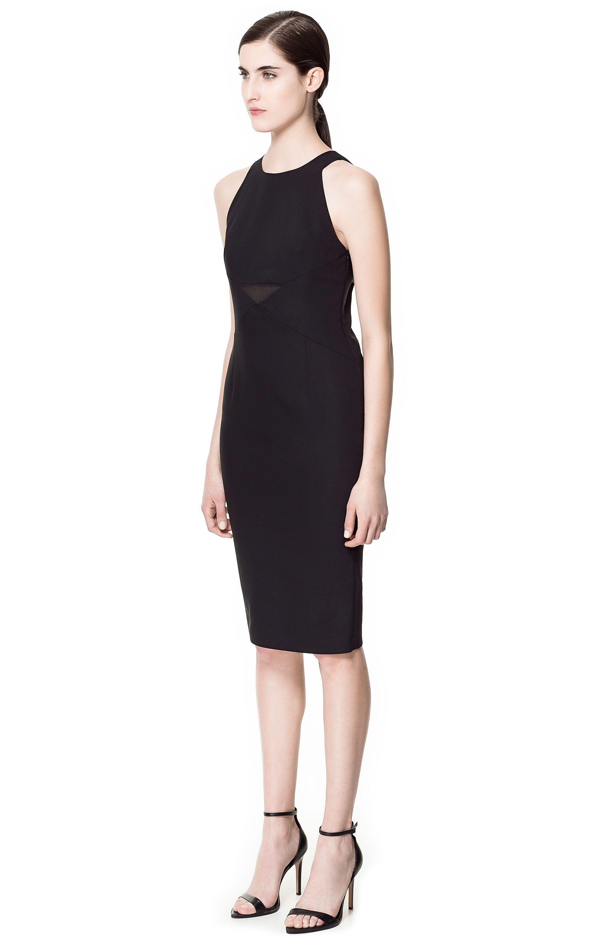 b652b6f325 COMBINED DRESS WITH SHEER DETAILS - Dresses - Woman | ZARA Italy - nice  basic black dress