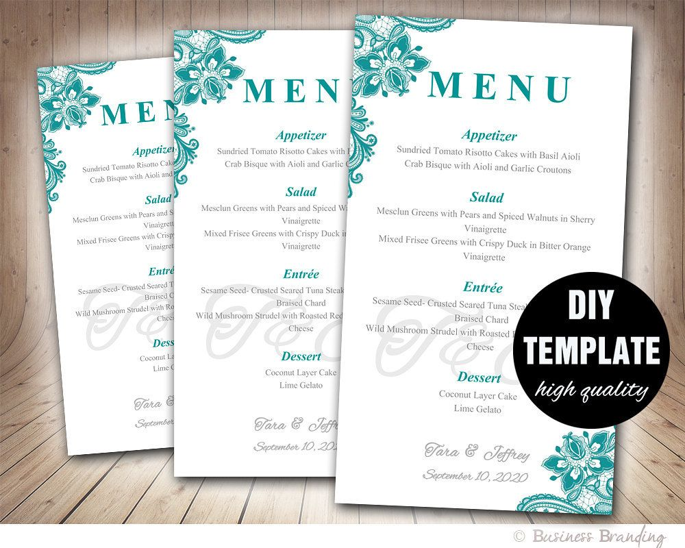 Wedding Menu Printable Template  Diy Printable Menu Card Teal