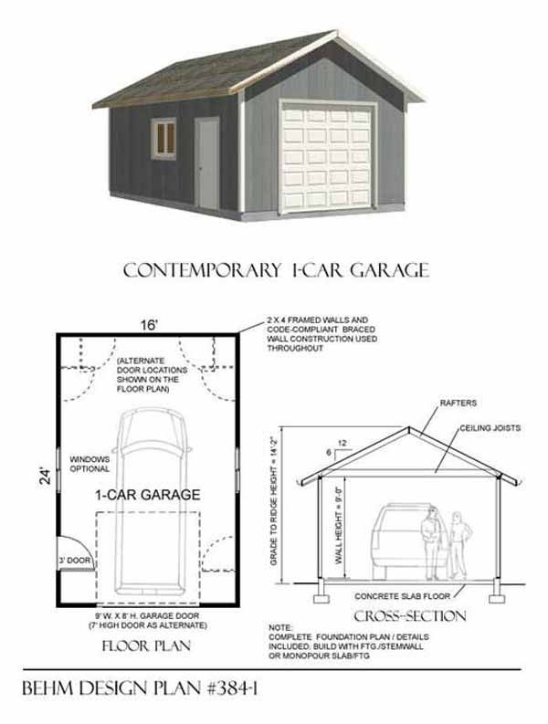 Oversized Craftsman style 1 car garage is another Behm Design original-  rafter framed attic roof for extra storage. Bracket roof with broad over  hangs make ...
