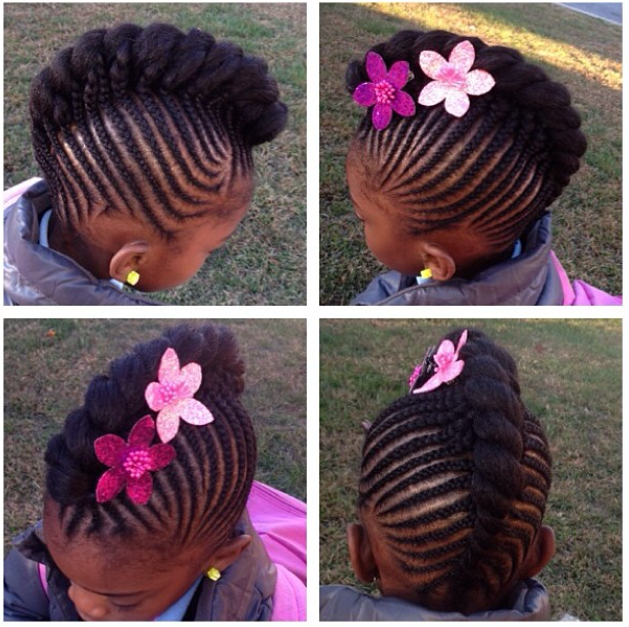 Nice cornrow updo with flower accessories. | Natural Kids