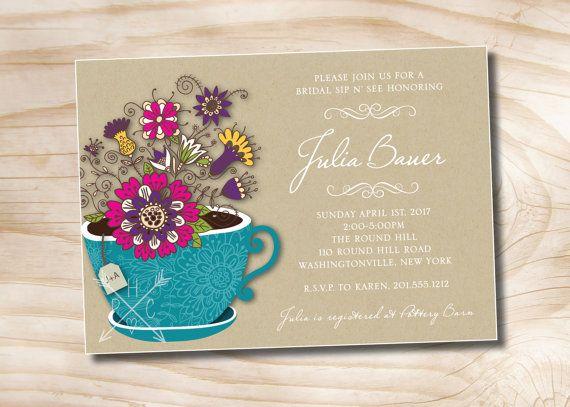 62bab657378e RUSTIC TEA Sip  n See Garden Party Bridal Shower Invitation Baby Shower  Invitation Digital Design - You Print