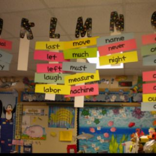 Hanging word wall! Fantastic idea for a small classroom with little wall space...
