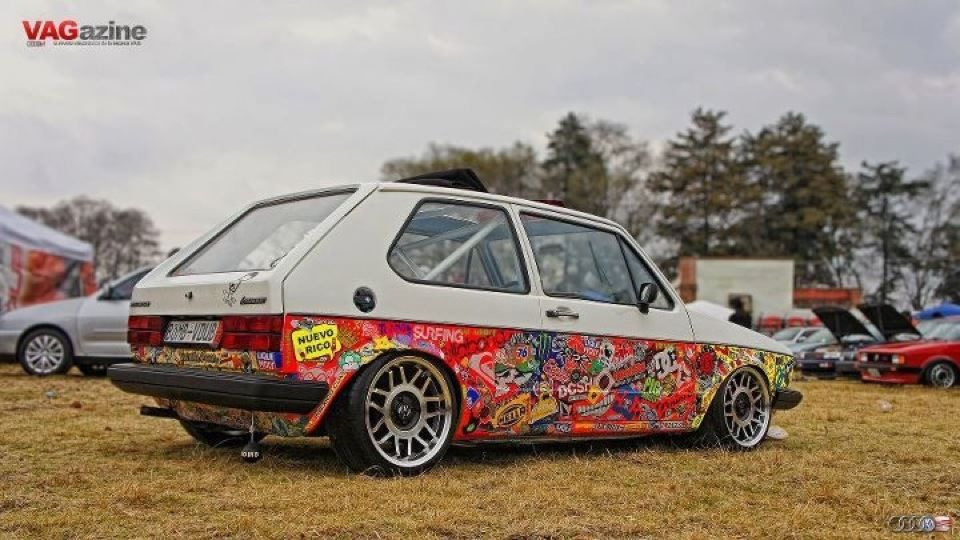 sticker bombed mk1 with fifteen52 snowflakes