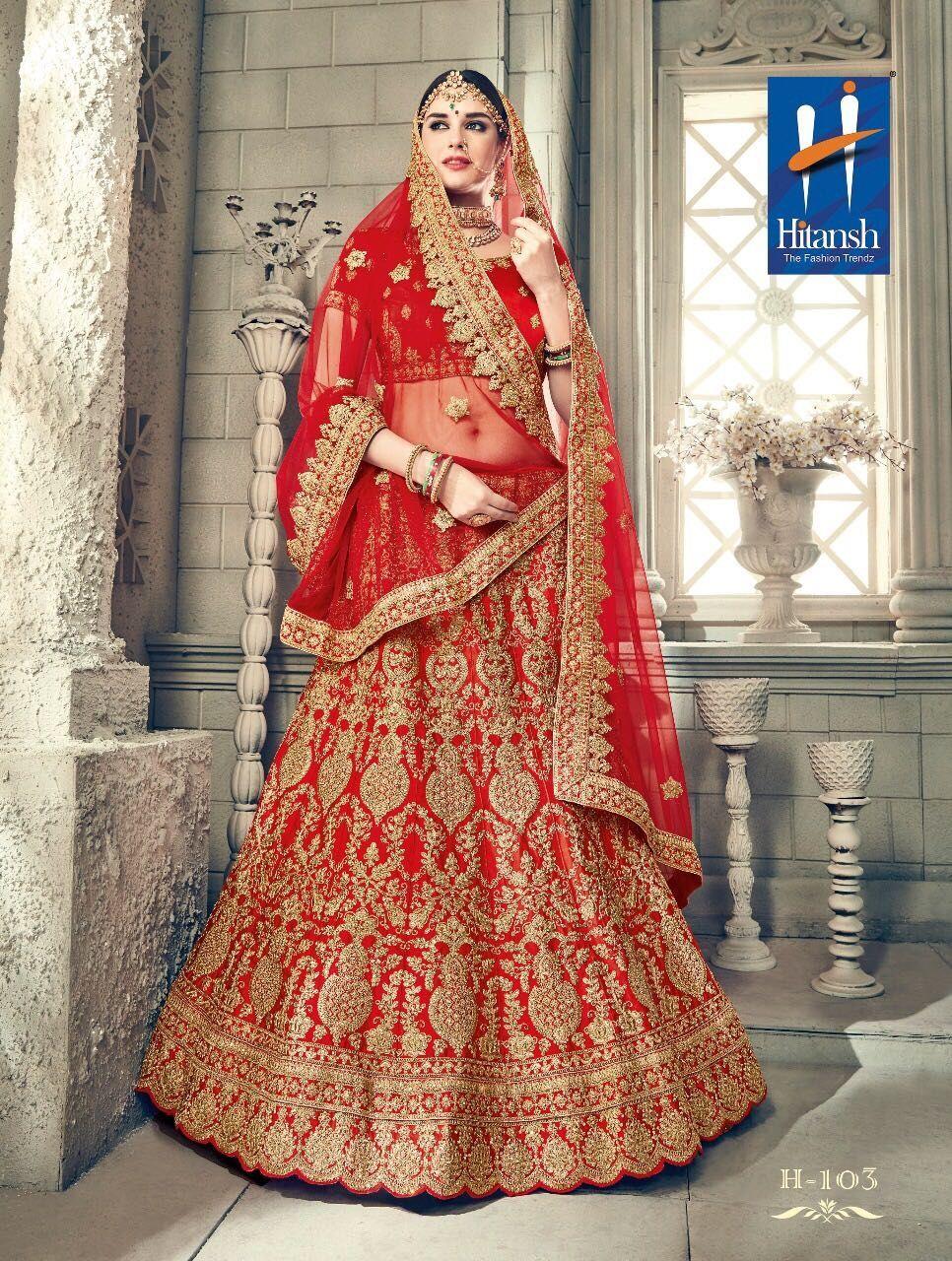 fc435d543a Hitansh Vivah Exclusive Red Colour Heavy Embroidery Designer Bridal Lehenga.  Design No-H-103. Lehenga-Silk. Blouse-Silk. Dupatta-Net.