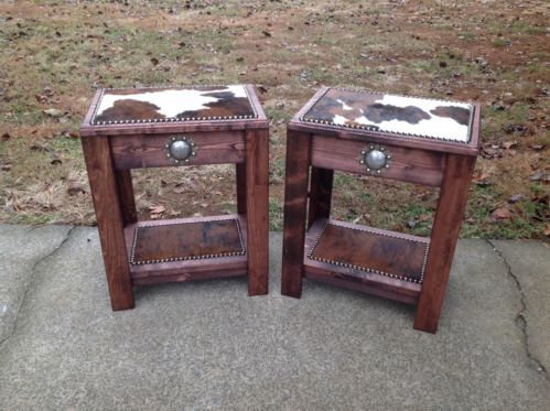 Set Of 2 Occasional End Tables Cowhide Concho Western Decor Made In Usa