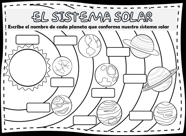 imágenes del sistema solar para colorear documentos ciencias