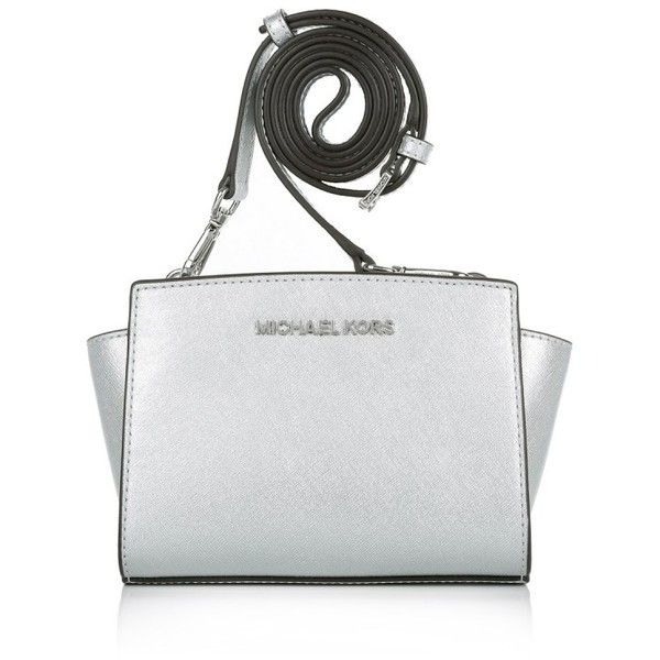 Michael Kors Shoulder Bags, MICHAEL Selma Mini Messenger Silver... (£155) ❤ liked on Polyvore featuring bags, handbags, shoulder bags, silver, mini crossbody, man bag, shoulder handbags, mini shoulder bag and shoulder messenger bag