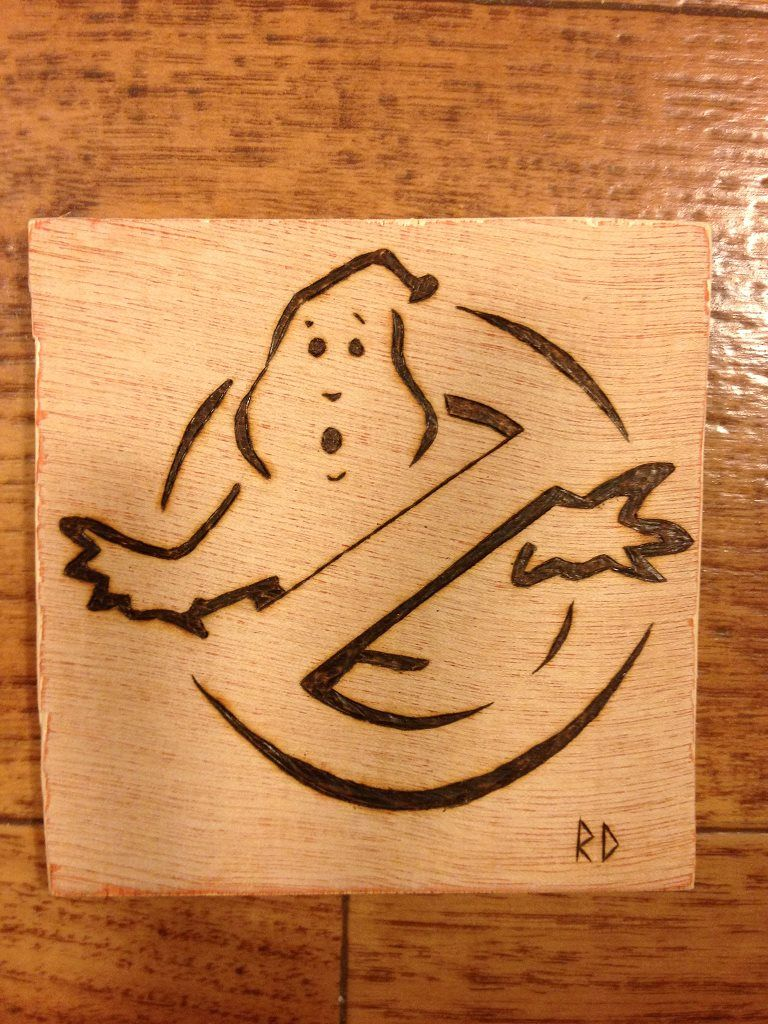 My Pyrography project: Ghostbusters cup holder (10x10cm of Okoume plywood)
