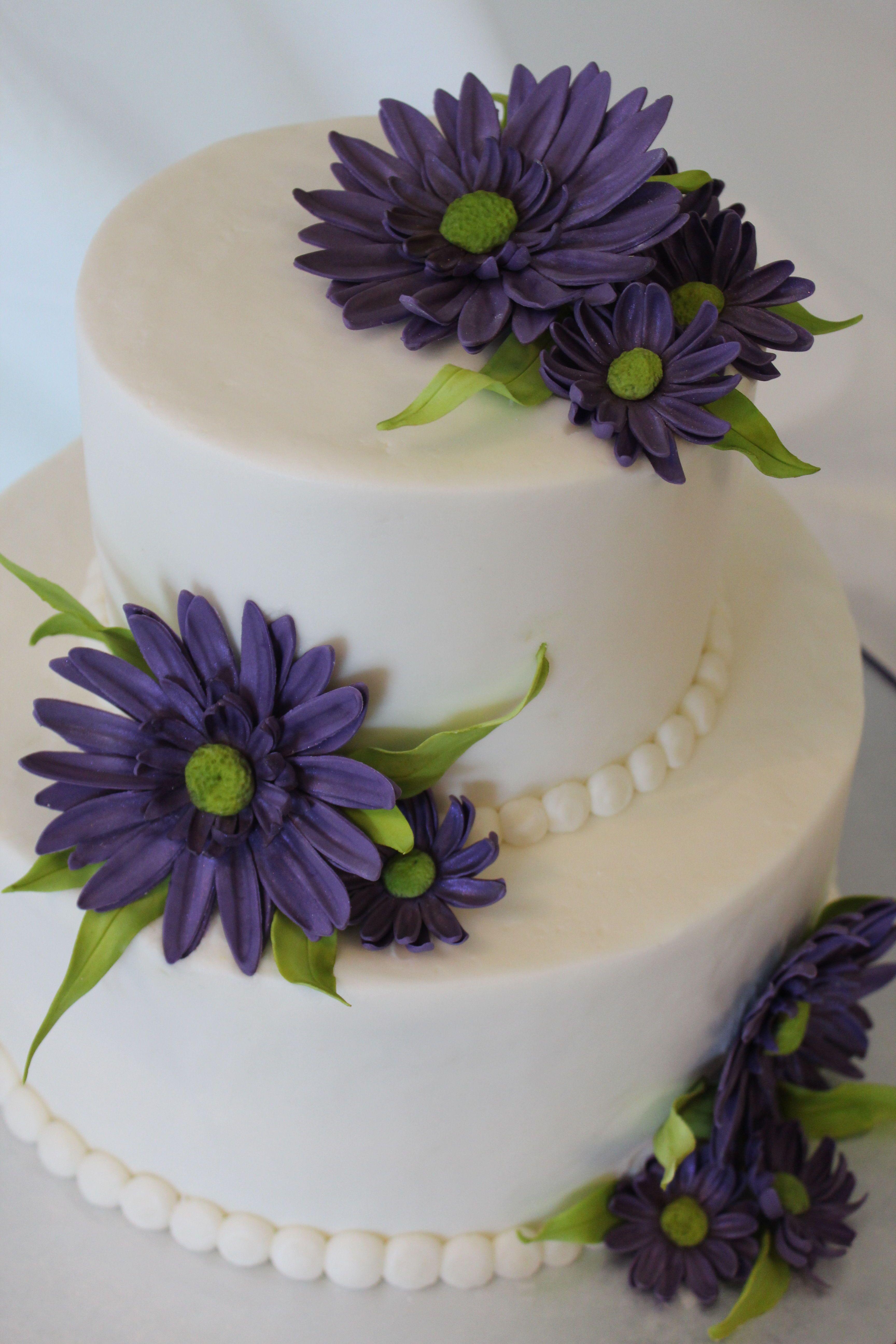 Purple Daisy Cake Buttercream Cake With Gum Paste Daisy Flowers