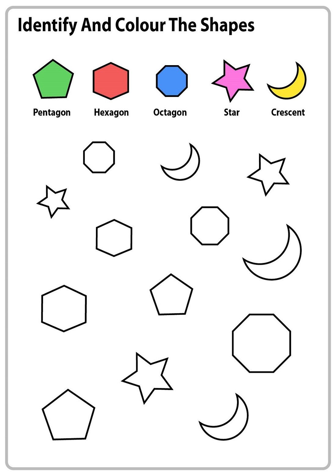 Shapes And Numbers Charts And Worksheets In