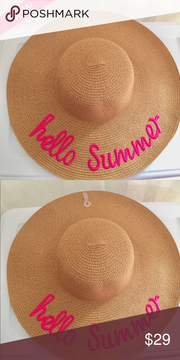 9e1bca5506e Hello Summer Floppy Pink Embroidered Straw Hat Greet summer in a floppy  straw hat that shields you from the beating sun while bringing a bit of glamour  to ...