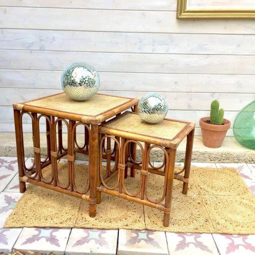 Brocante décoration ambiance vintage esprit bohème Duo de tables