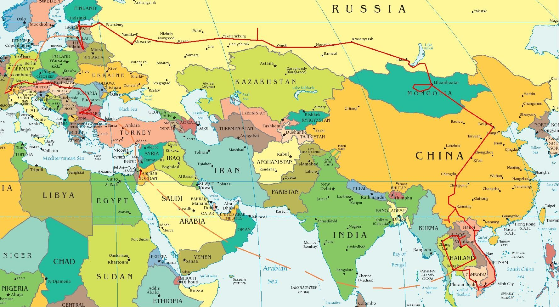 Map Of Europe Asia And Africa Maps Asia Map East Asia Map