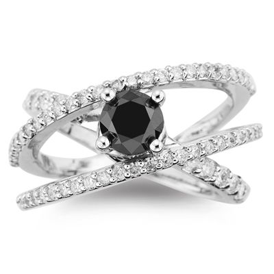 Black Diamond Ring This Intertwined 18k Has A Solitaire And