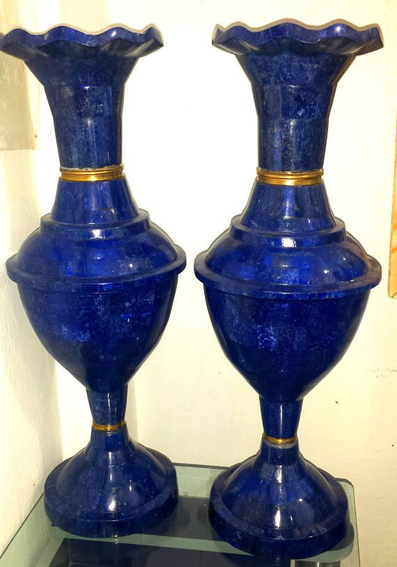 Wow Beautiful Lapis Lazuli Top Quality Big Sizes Two Vases Store
