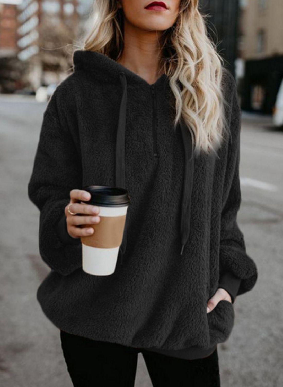 Casual long sleeve front zip loose hoodie coat with pockets in