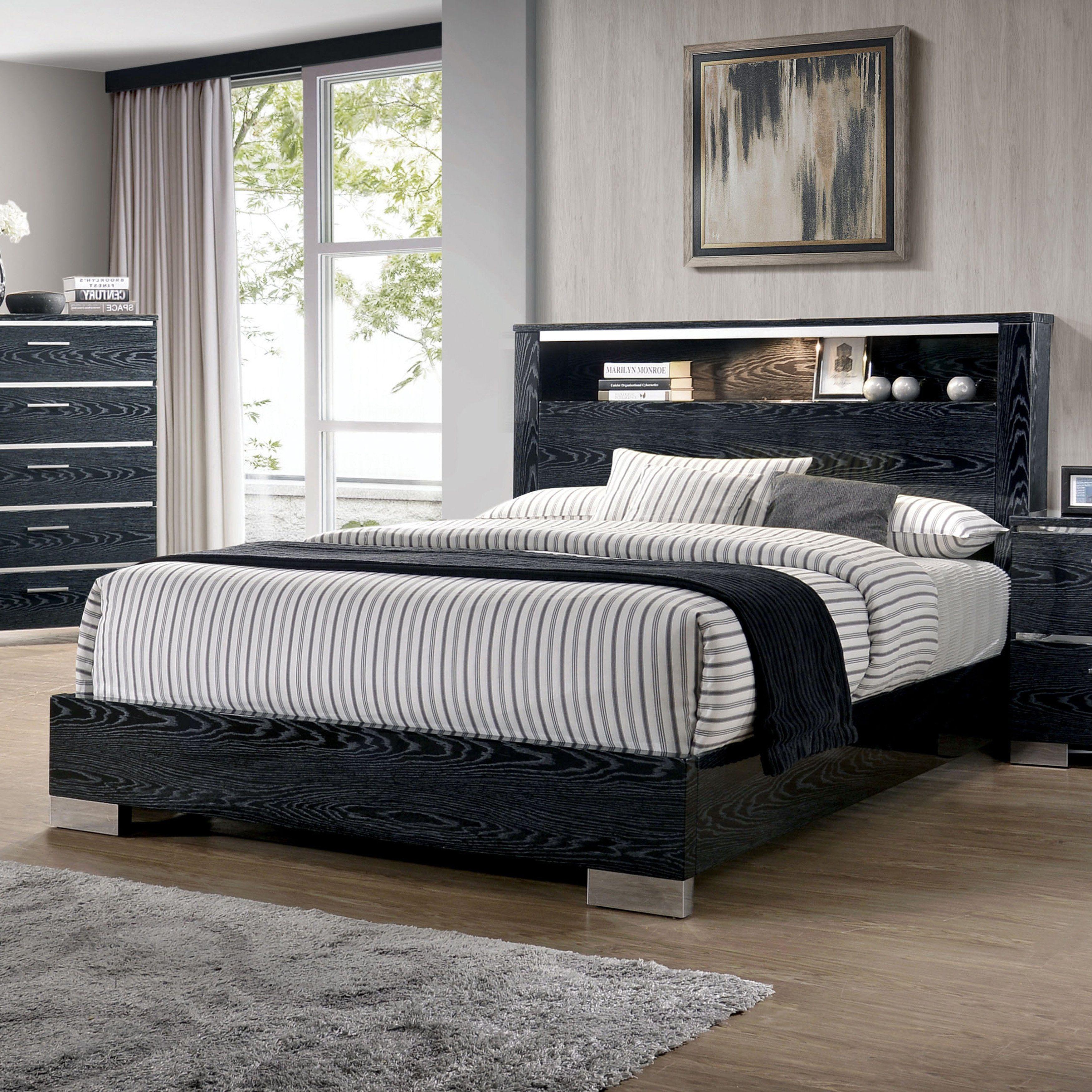 Furniture of America Elysee Chrome Trim LED Display Bed