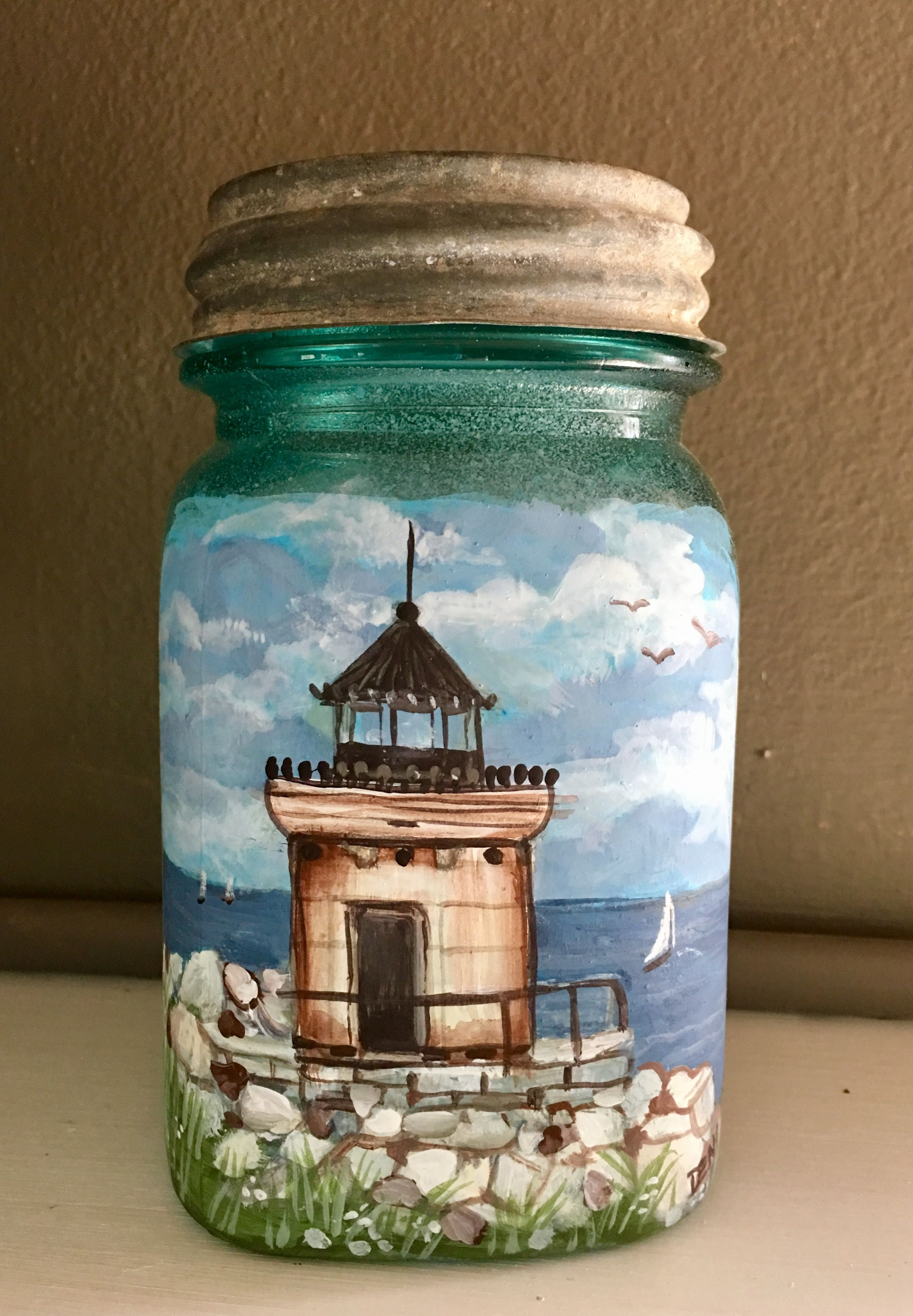 Lighthouse painted on an old mason jar | things to paint and