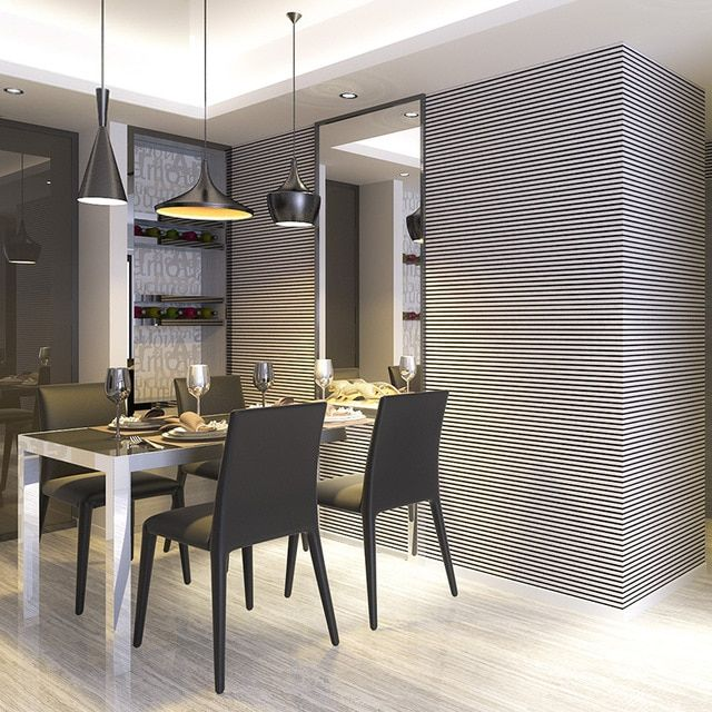 Best Dining Room Featuring Vertical Striped Wallpaper In Black 400 x 300