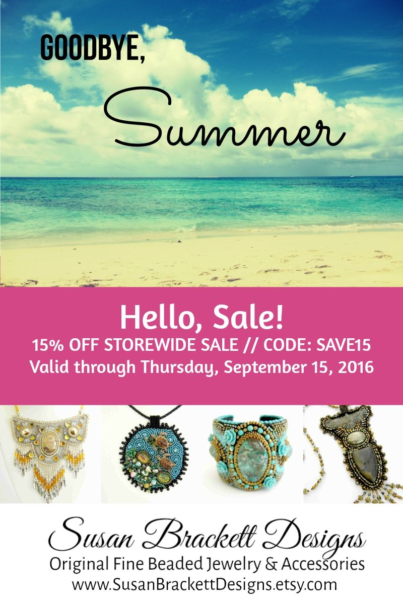 15% OFF STOREWIDE SALE // CODE: SAVE15 Valid thru 9/15/16 www.SusanBrackettDesigns.etsy.com #SusanBrackettDesigns #Etsy #SummerSale #WomensFashion Sale, Boho Chic, Bohemian Style, Beach Fashion, Native American, Beaded Jewelry, Bead Embroidered Accessories, Bead Embroidery