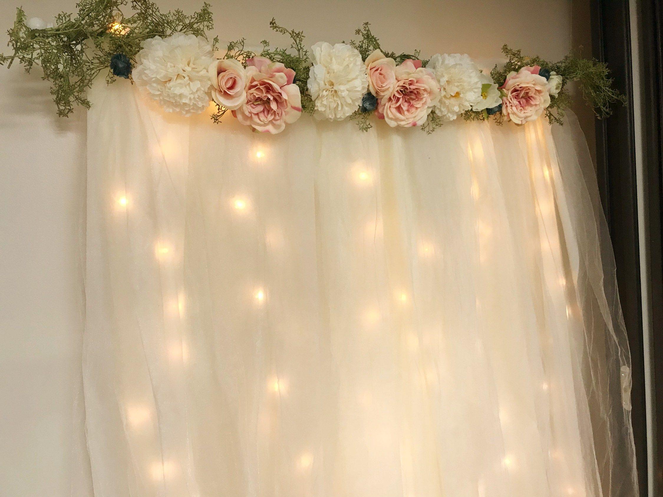 Diy Lit Tulle Backdrop Six Clever Sisters Bridal Shower Backdrop Diy Baby Shower Decorations Budget Baby Shower