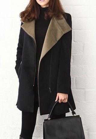 Elegant Black Grey Zipper Stand Colloar Slim Long Coat Overcoat