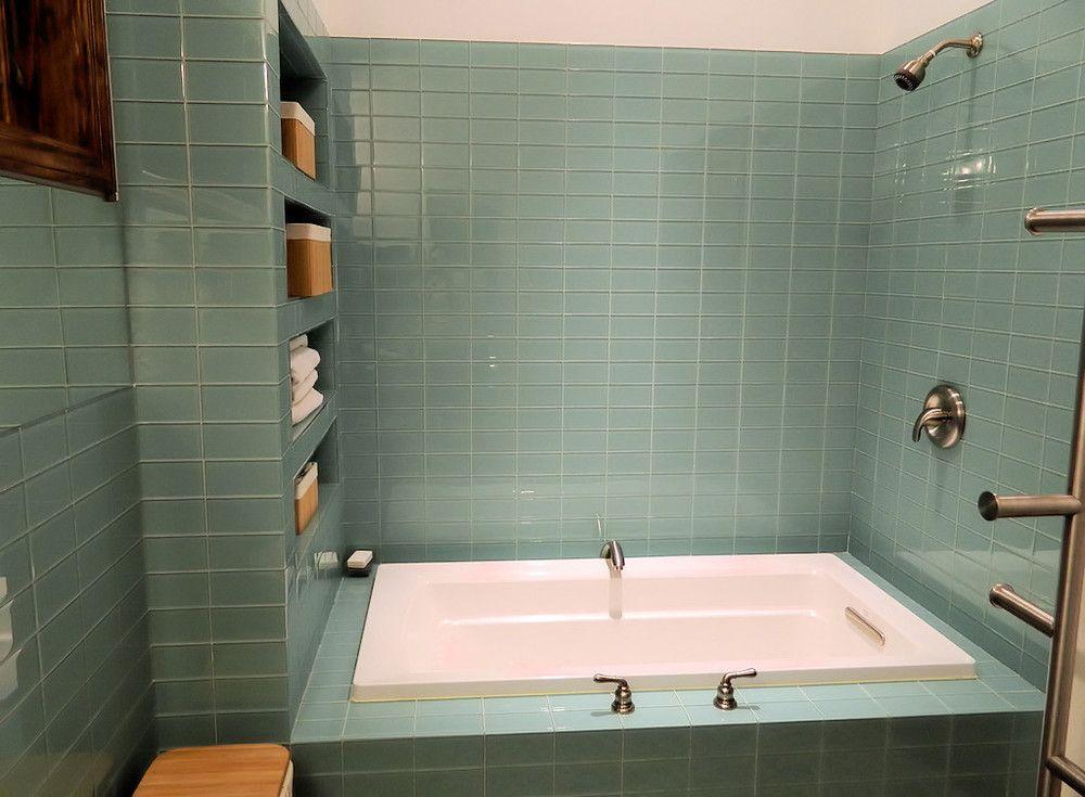 Bathroom Stall Outlet sage green glass subway tile modern bathroom & shower - subway
