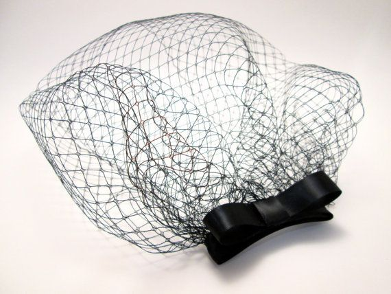 Black Birdcage Veil Blusher Bow Fascinator Black Tie by jenjoy83