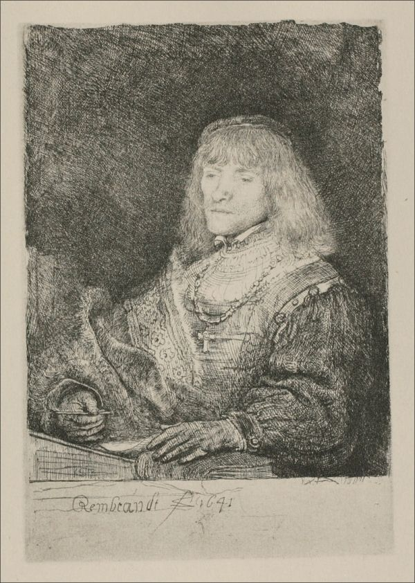 artist-rembrandt:  A Man with a Crucifix and Chain via Rembrandt Van Rijn  Size: 7x9 cm