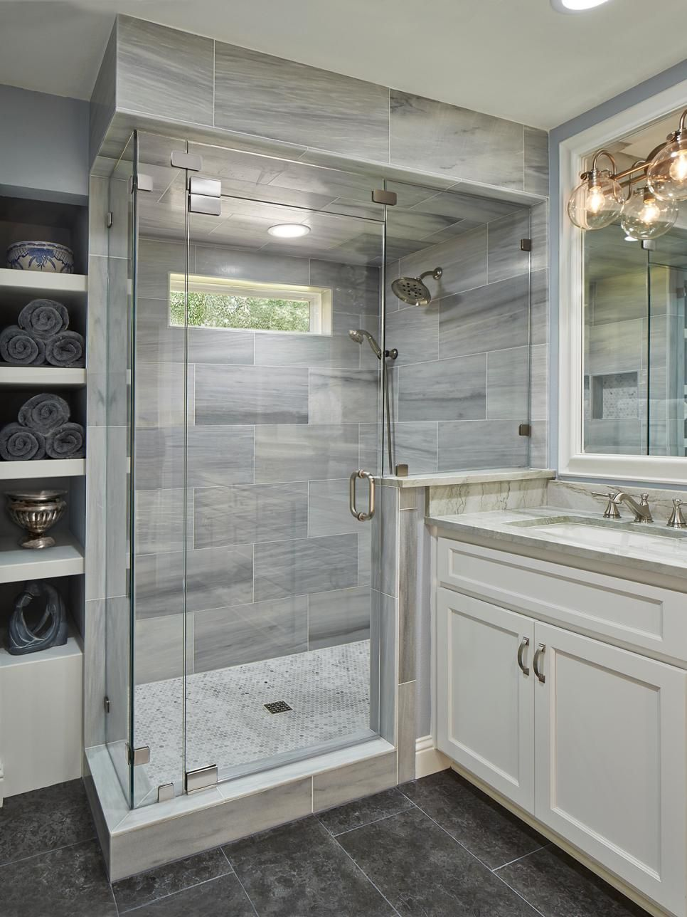 Beautiful Gray Master Bathroom Ideas Part - 9: A Mix Of Stone, Marble And Tiles Create A Rich And Elegant Master Bathroom.