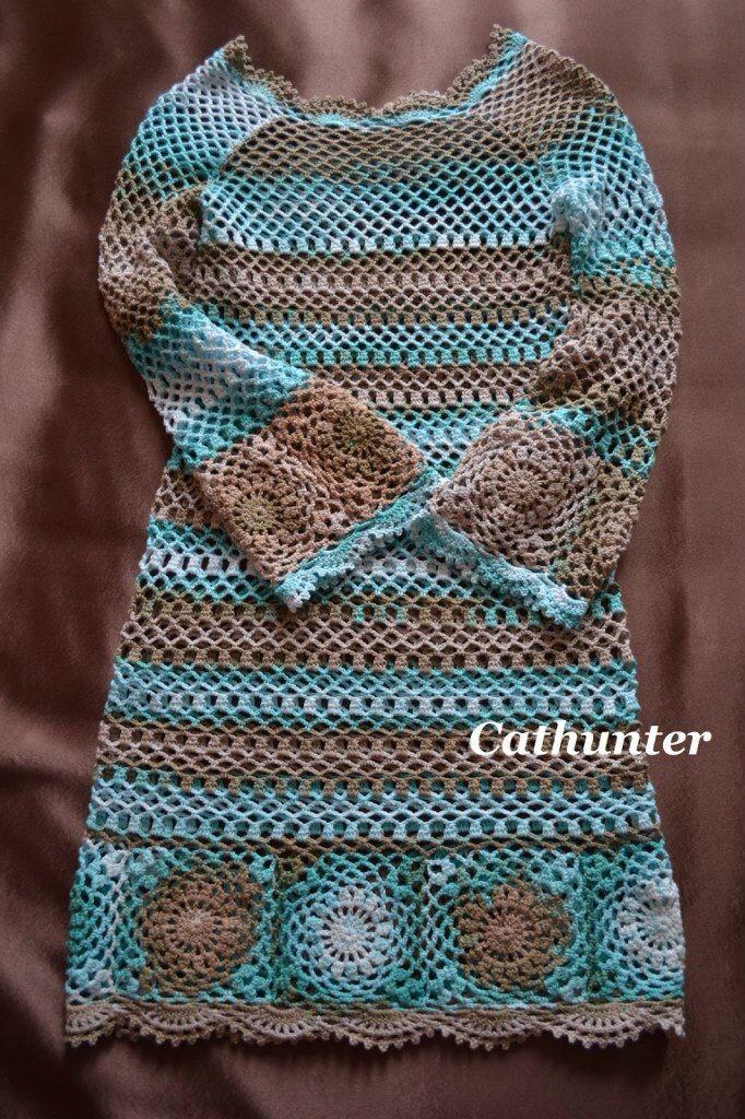 pineado Boho Crochet Dress. Free Pattern! ༺✿ƬⱤღ http://www.pinterest.com/teretegui/✿༻