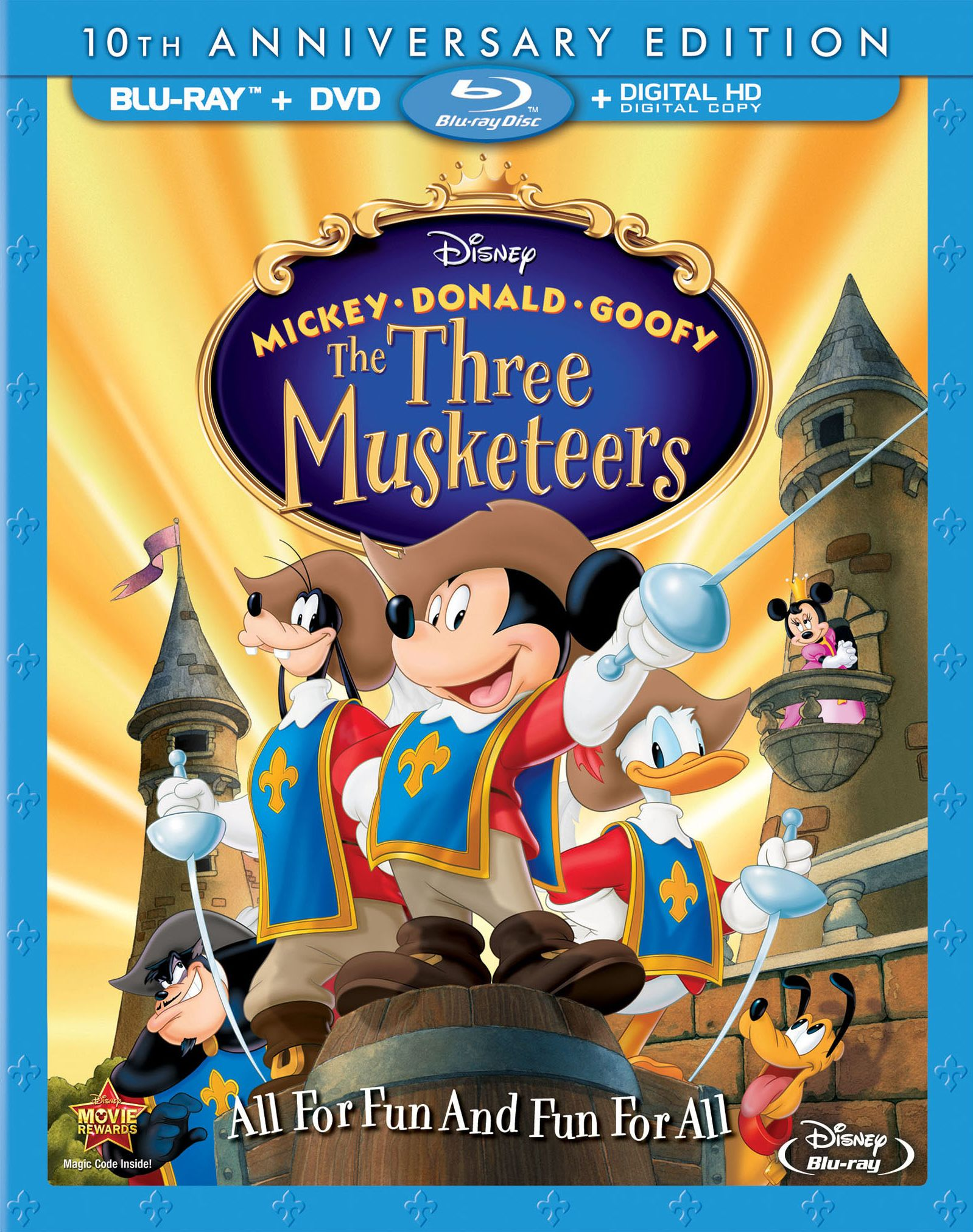 Mickey Donald Goofy The Three Musketeers Blu Ray 10th
