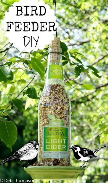 Upcycle your beer or hard cider bottle into this cute Michelob Bird Feeder.