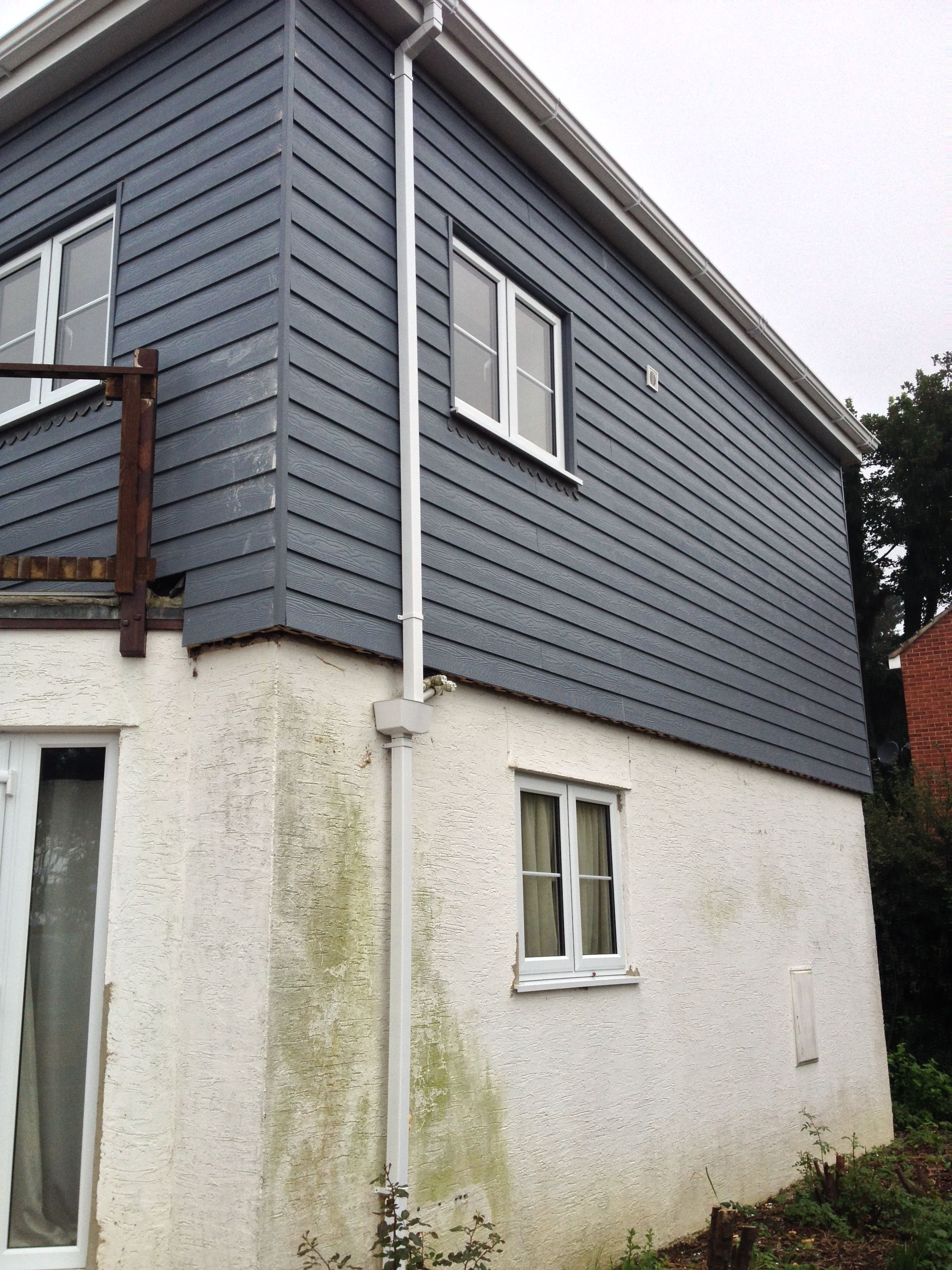 Grey Cement Board : Cement board cladding in grey wood style external
