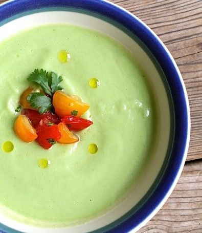 Chilled Cucumber Avocado Soup with Tomato Kiss {vegetarian}