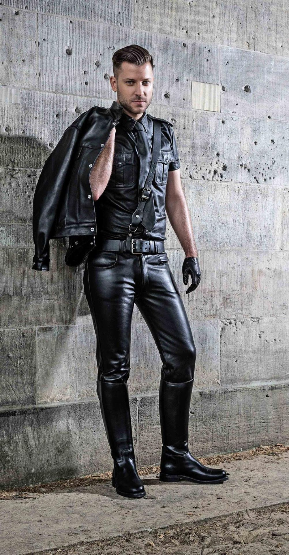 Pics gay men in leather pants