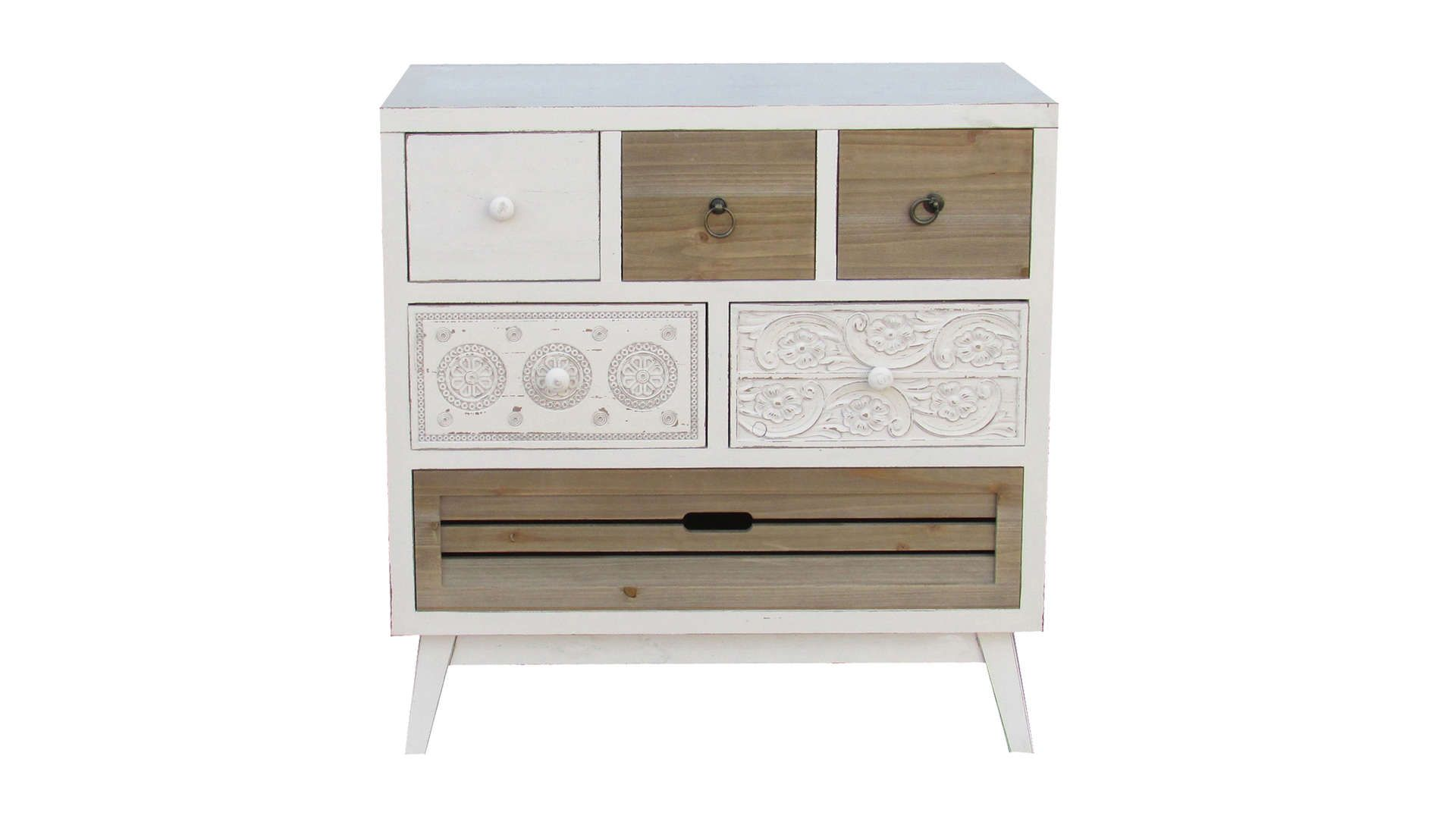 Commode 5 Tiroirs 1 Abattant Santy Coloris Bois Blanchi Commode 5 Tiroirs